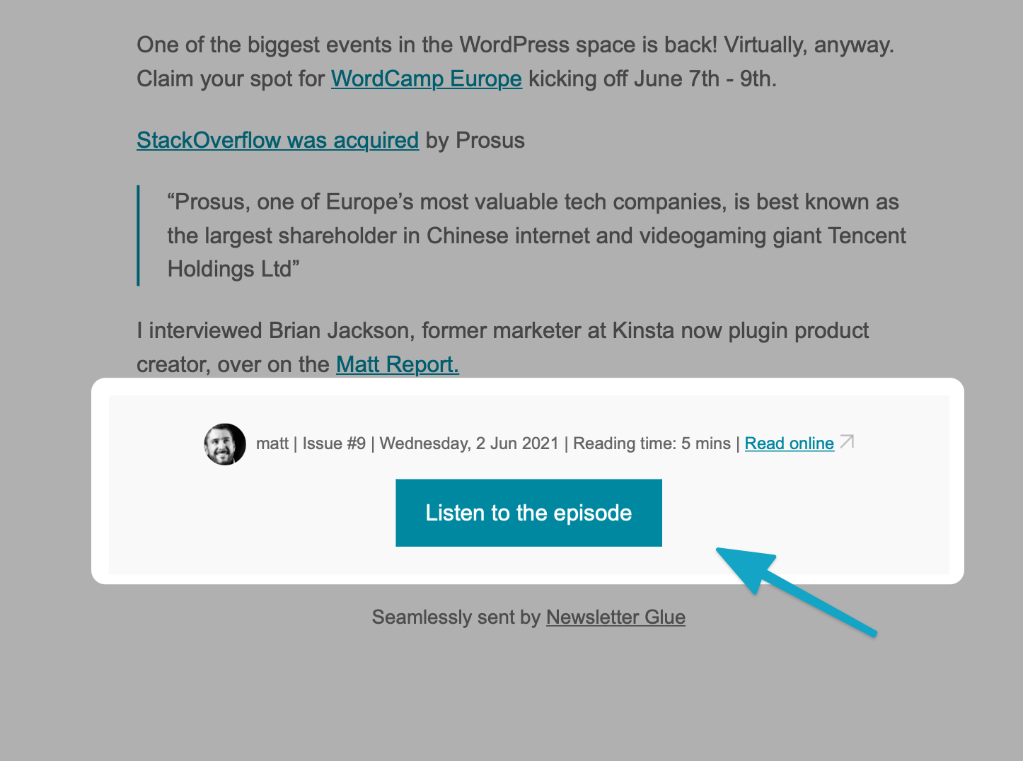 The WP Minute example button