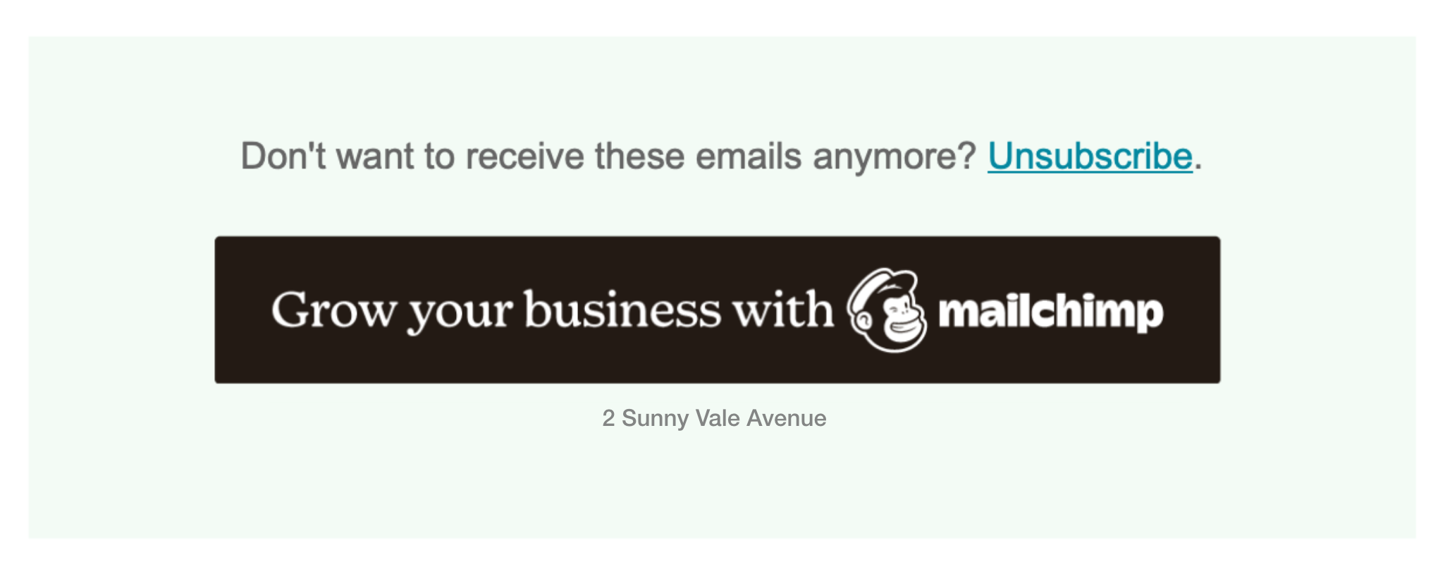 Preview of custom Mailchimp footer