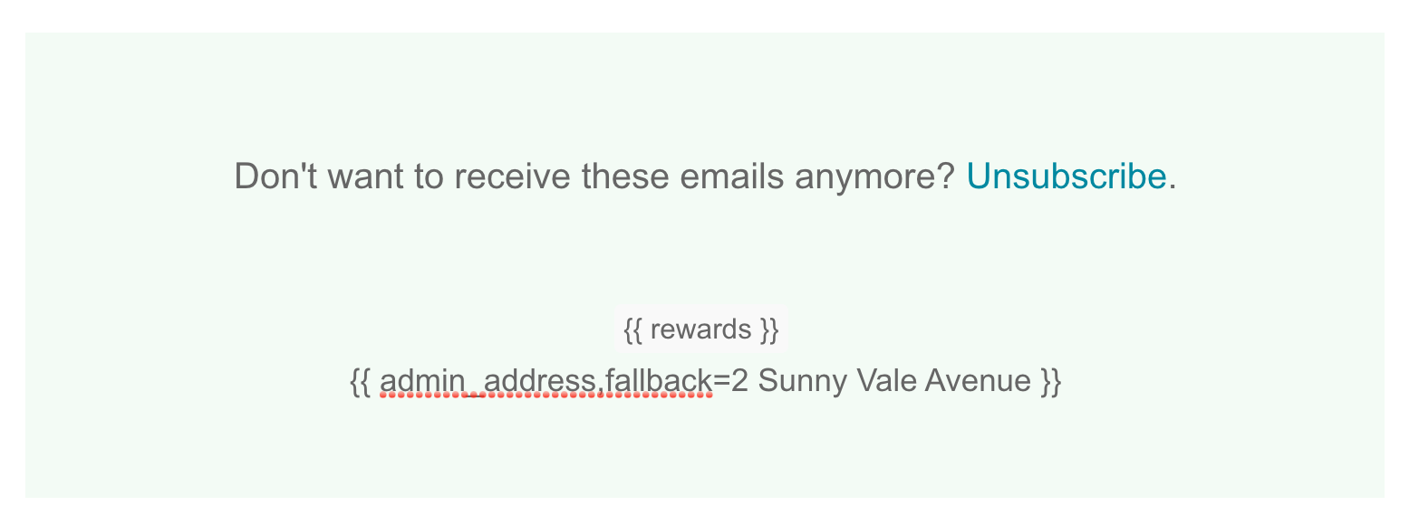 Preview of custom Mailchimp footer mergetag codes