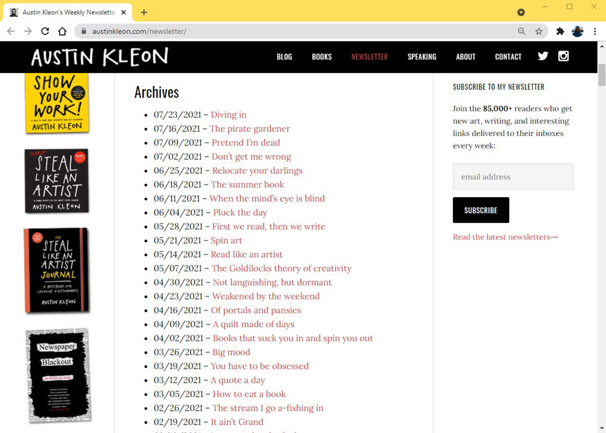 A screenshot of Austin Kleon's newsletter archive page on his website.