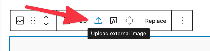 Upload external image feature in block editor toolbar