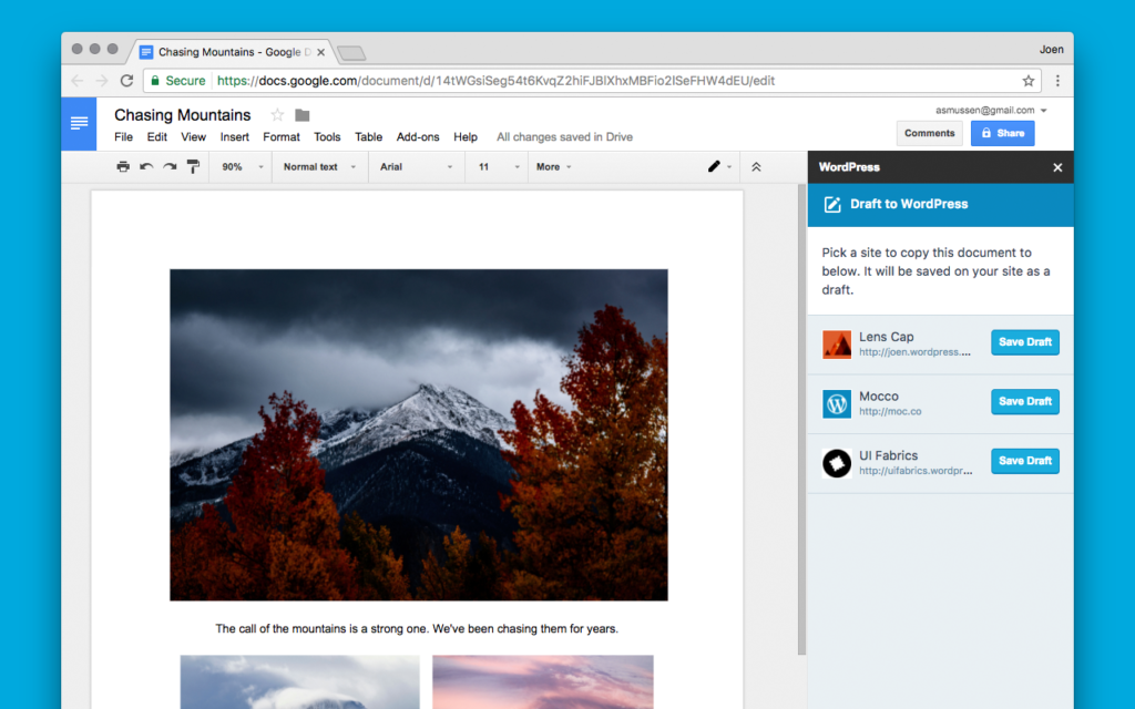WordPress.com for Google Docs add-on