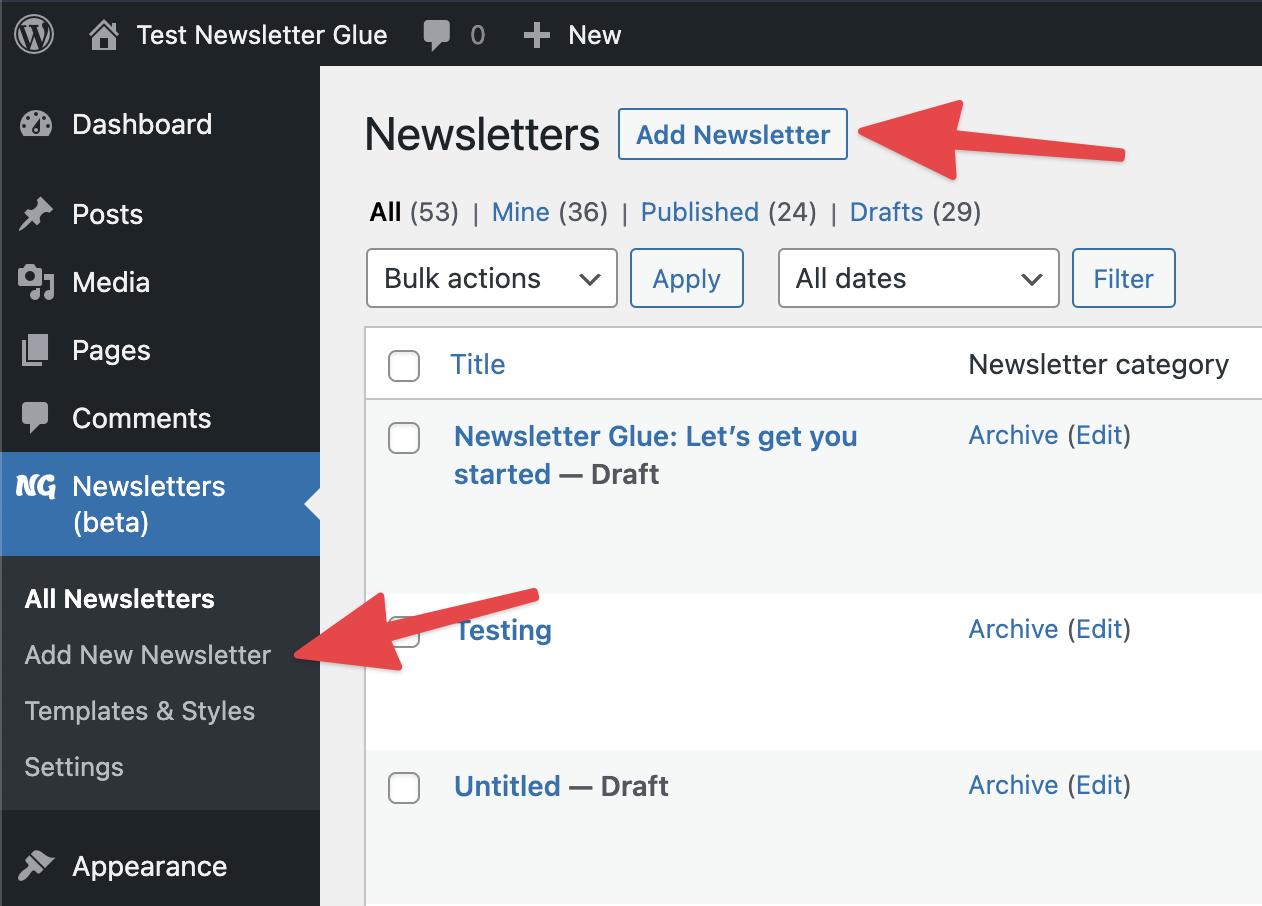 Write newsletter in WordPress with Newsletter Glue