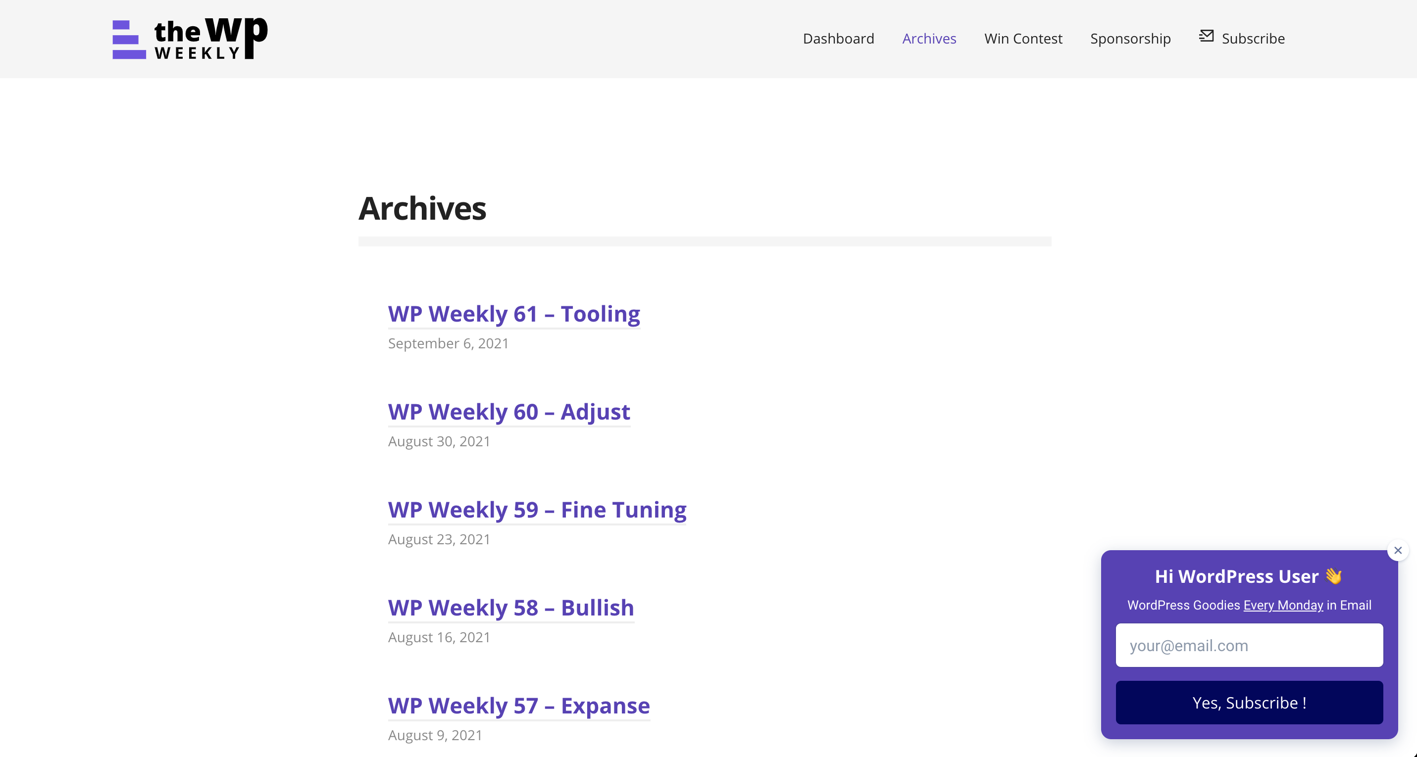 The WP Weekly's archives
